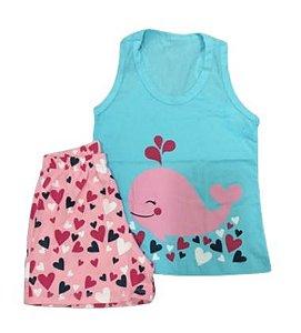 Pijama Infantil 100% Algodão BALEIA
