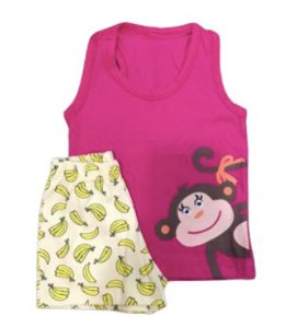 Pijama Infantil 100% Algodão Regata Macaquinho