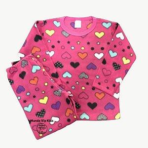 Pijama Infantil Soft CORAÇÕES PINK