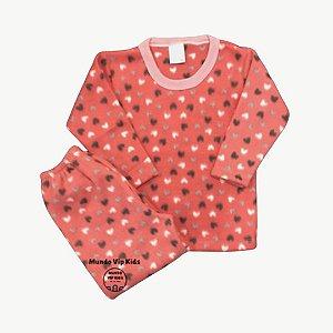 Pijama Infantil Soft CORAÇÕES PESSEGO