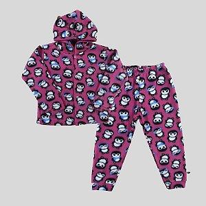 Pijama Infantil SOFT Capuz Punho PINGUINS