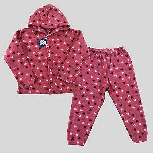 Pijama Infantil SOFT Capuz Punho CORAÇÕES PESSEGO