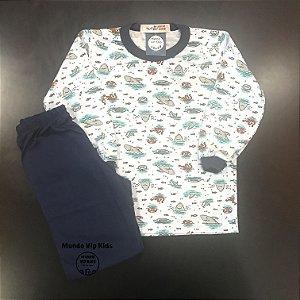 Pijama Infantil Malha Fria Tubarões