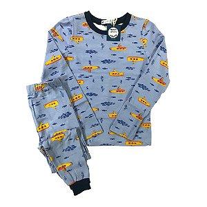 Pijama Infantil SLIM Submarinos Azul Manga Longa