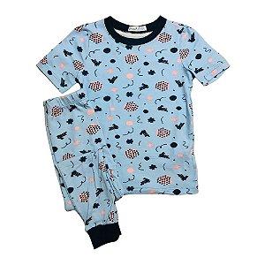 Pijama Infantil SLIM Coelinhos Azul Manga Curta