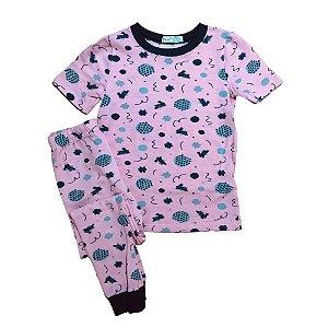 Pijama Infantil SLIM Coelinhos Rosa Manga Curta
