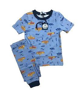 Pijama Infantil SLIM Submarinos Azul Manga Curta