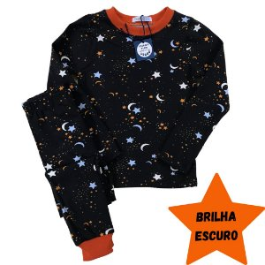 Pijama Infantil SLIM BRILHA ESCURO Estrelas Preto Longo