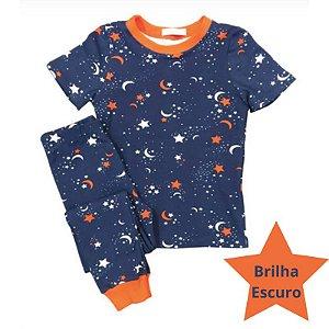 Pijama Infantil SLIM BRILHA ESCURO Estrelas Marinho Curta
