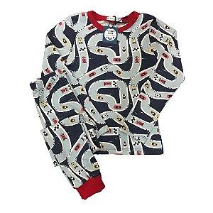 Pijama Infantil SLIM Pista Carros Marinho Manga Longa