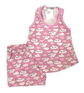 Pijama Infantil 100% Algodão Short Doll  NUVENS