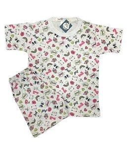 Pijama Infantil 100% Algodão Manga Curta YEAH