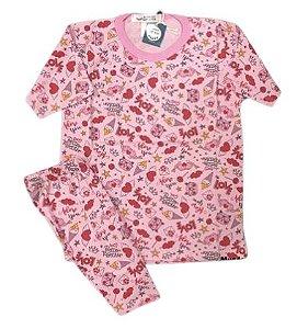 Pijama Infantil 100% Algodão Manga Curta ADORE YOU