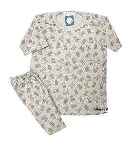 Pijama Infantil 100% Algodão Manga Curta BEARS