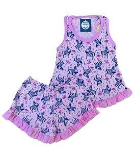 Pijama Infantil 100% Algodão Short Doll ZEBRINHAS