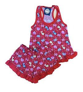 Pijama Infantil 100% Algodão Short Doll BIRDS