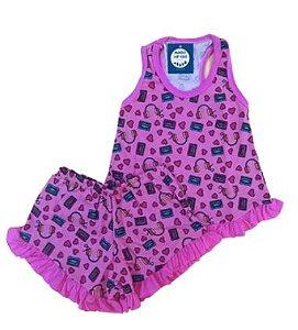 Pijama Infantil 100% Algodão Short Doll MUSIC