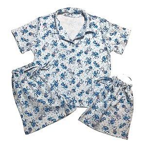 Pijama Camisa Mamãe FUNDO DO MAR