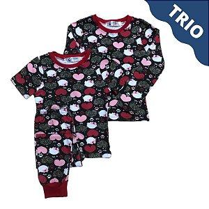 Pijama Infantil SLIM TRIO CORAÇÕES