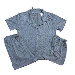Pijama Camisa Infantil CINZA MESCLA
