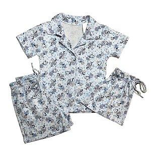 Pijama Camisa Mamãe FUNDO MAR BLUE