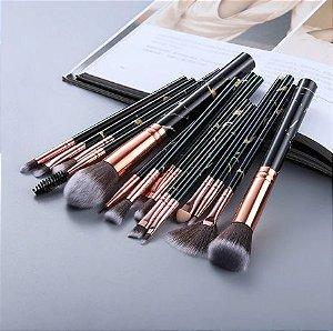 Pincel de Maquiagem Kit Completo com 15 pinceis