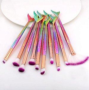 Kit de Pincéis Sereia com 10 pincéis coloridos
