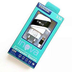 CARREGADOR RÁPIDO INOVA 3.1 MICRO USB COM 2 SAÍDAS USB