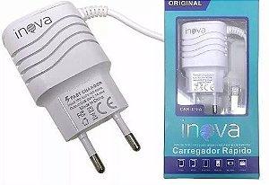 CARREGADOR RÁPIDO INOVA 3.1 TIPO C COM 2 SAÍDAS USB
