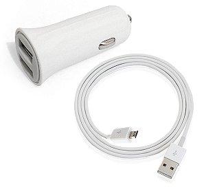 Kit carregador veicular e cabo V8 com 2 entradas USB de carregamento rápido - RESISTENTE!