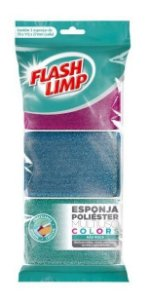 Esponja Multiuso Poliéster Colors 3 Peças Flash Limp