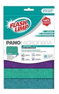 Pano Microfibra Multiuso 3 Peças Flash Limp