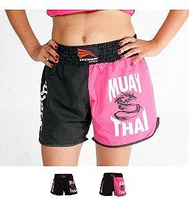Short Muay Thai  Bermuda Calção Luta Feminino  Progne