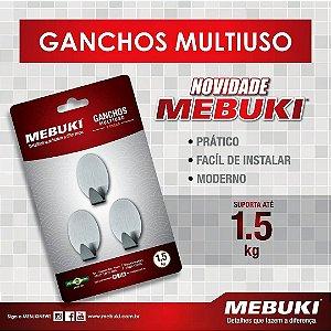 Gancho Multiuso 3 Peças Até 1,5kg Mebuki