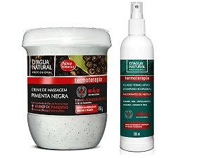 Kit Creme Pimenta Negra 650g + Fluido Termo Ativo 380 ml - D'AGUA NATURAL