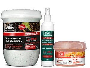 CREME PIMENTA NEGRA + FLUIDO + ESFOLIANTE300G - KIT Especial D'AGUA NATURAL