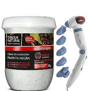 Creme Pimenta Negra 650g + Massageador G-Relax Infra Vermelho