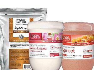 Kit Clareamento Argila Branca + Creme Rosa Mosqueta 650g + Esfoliante Forte 650g