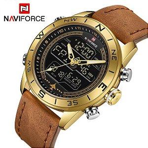 96bae644ffd Relógio Masculino Naviforce 9144 Banhado a Ouro Pulseira Couro