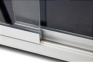 Quadro de Aviso com Vidro de Correr - Feltro Preto - Moldura Alumínio