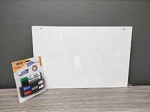 Kit Quadrinho Branco Liso Fitado - Canetas e Apagador