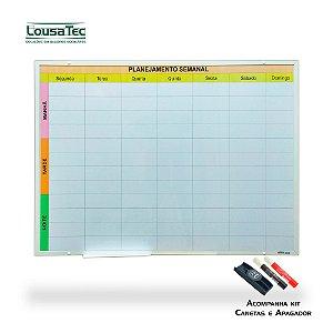 Quadro de Planejamento Semanal - Colorido - Moldura Alumínio Epoxi Branco com 2 Canetas e Apagador