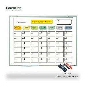 Quadro de Planejamento Mensal - Colorido - Moldura Alumínio Epoxi Branco com 2 Canetas e Apagador