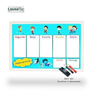 Quadro de Planejamento Semanal Infantil - Meninos - Moldura Alumínio Epoxi Branco