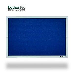 Quadro Edital de Aviso Simples - Feltro Azul - Moldura Alumínio Epoxi Branco