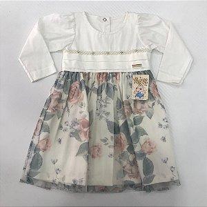 Vestido Manga Longa Flores