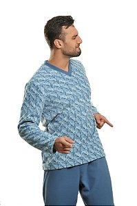 Pijama Masculino Inverno Soft  Azul Tricô