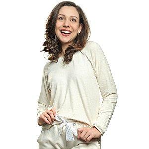 Pijama Longo Inverno Feminino Fleece Mescla Creme com Cetim