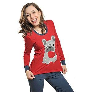 Pijama Longo Inverno Bulldog Francês Feminino