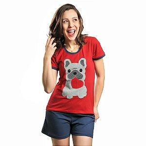 Pijama Curto Algodão Bulldog Francês Feminino